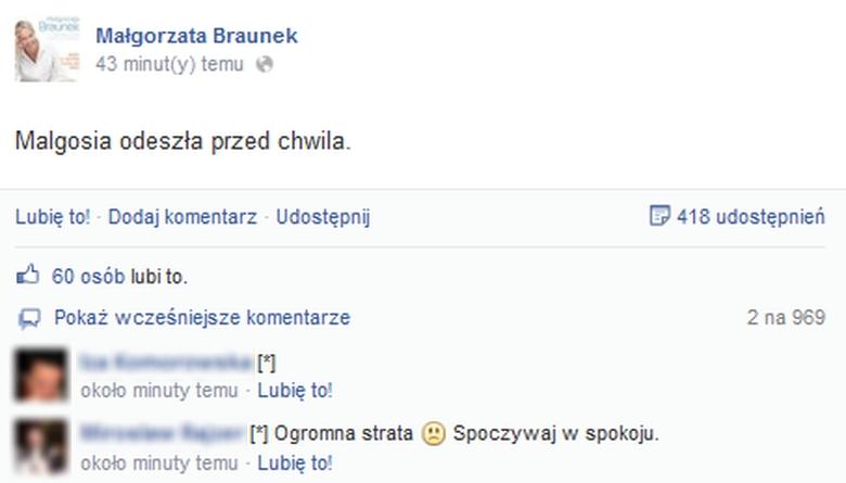 Facebook Małgorzata Braunek