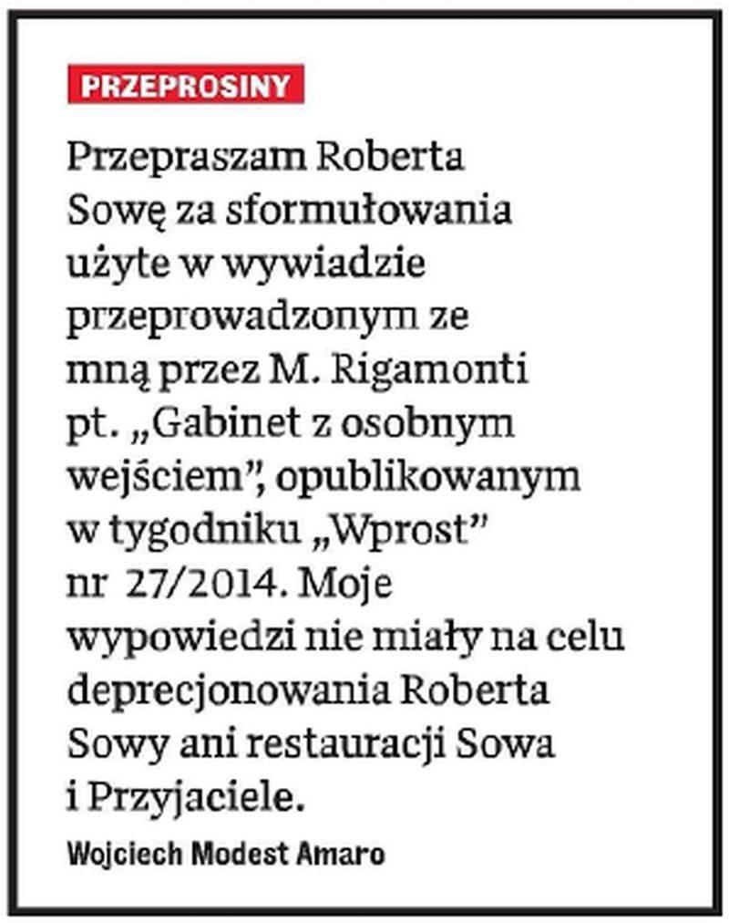 Wojciech Amaro przeprasza Roberta Sowę
