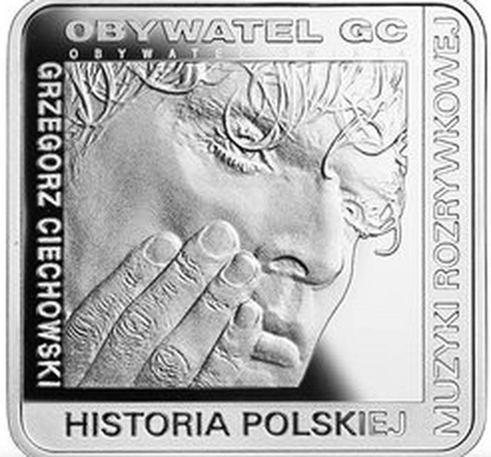 Moneta z podobizną Grzegorza Ciechowskiego Fot. screen z NBP