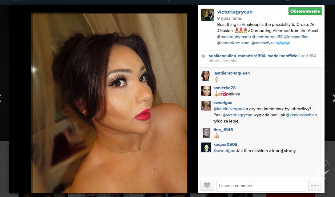 Victoria Grycan na Instagramie