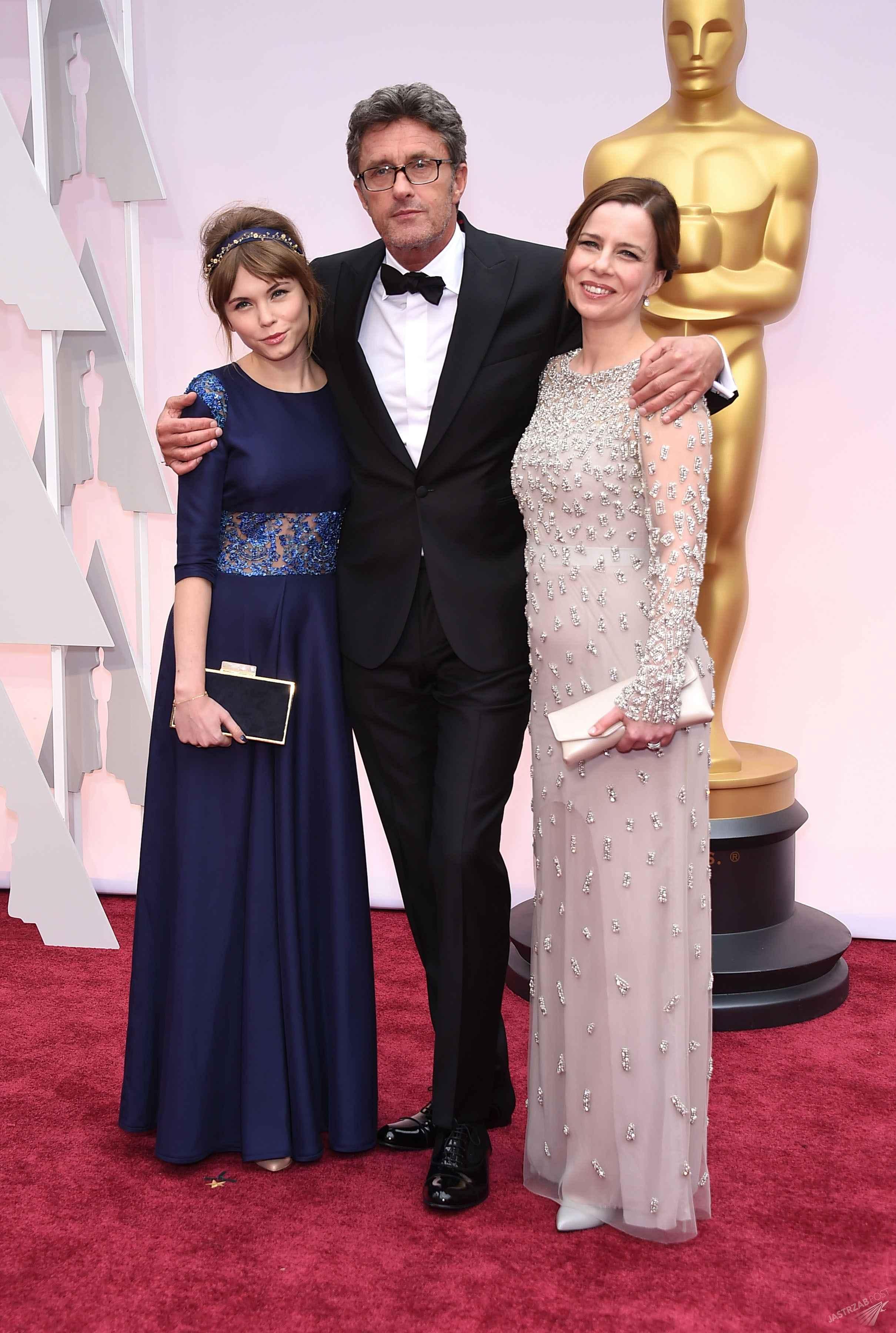 Agata Kulesza, Agata Trzebuchowska i Paweł Pawlikowski na ceremonii rozdania Oscarów, foto: ONS 87th Annual Academy Awards - Arrivals