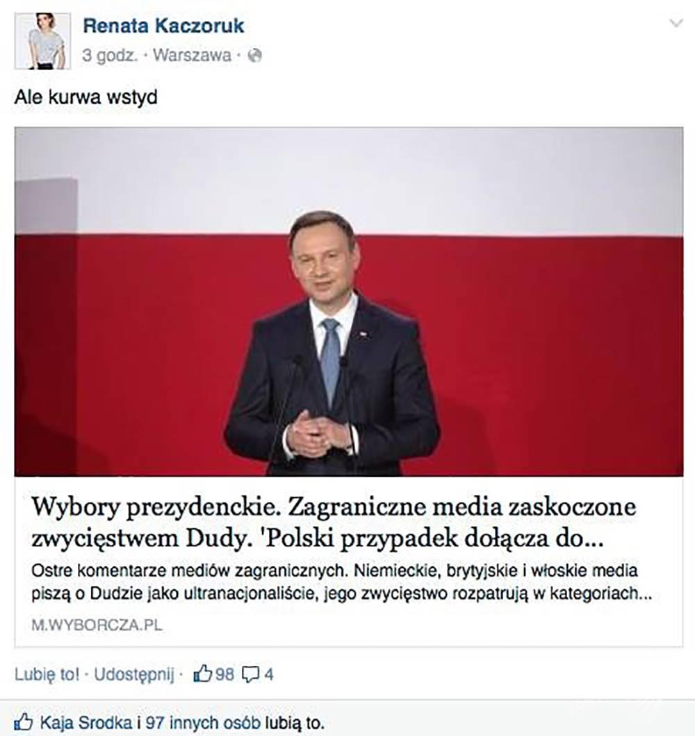 Renata Kaczoruk oburzona wynikami wyborów, fot. FACEBOOK