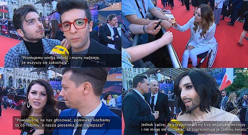 Kandydaci na Eurowizji 2015 przed wielkim finałem. Il Volo z Włoch, Elina i Stig z Estonii, Serbia, Armenia, Polska