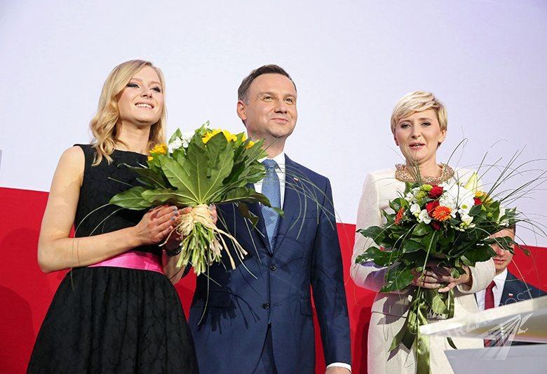 Andrzej Duda z córką Kingą i żoną Agatą, fot. ONS