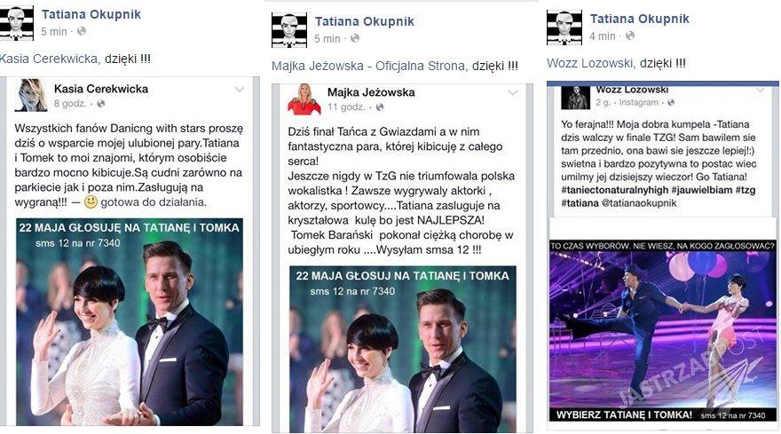 Gwiazdy głosują na Tatianę Okupnik, fot. Facebook