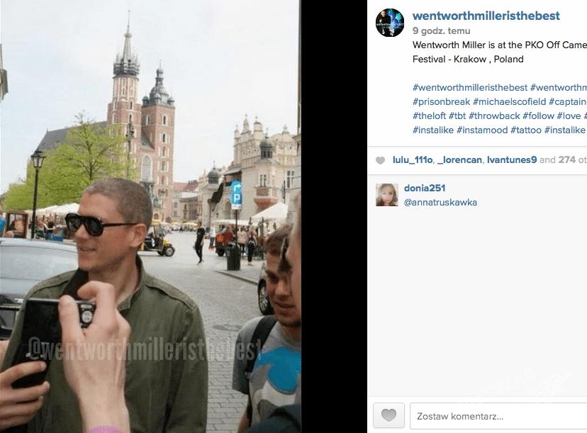 Wentworth Miller w Polsce na krakowskiej starówce