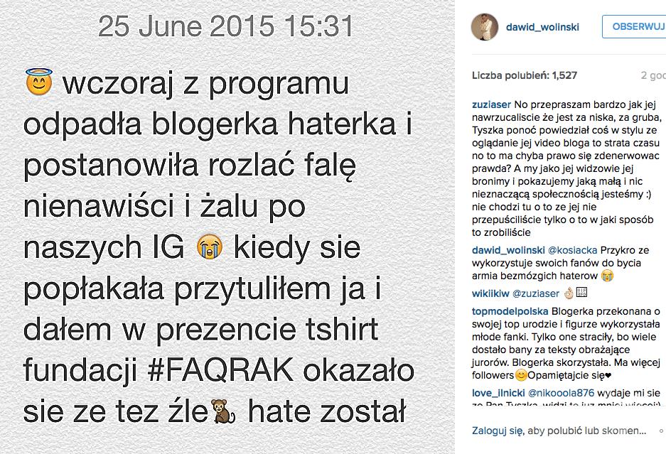 Oświadczenie Dawida Wolińskiego w sprawie blogerki Mai z Łodzi