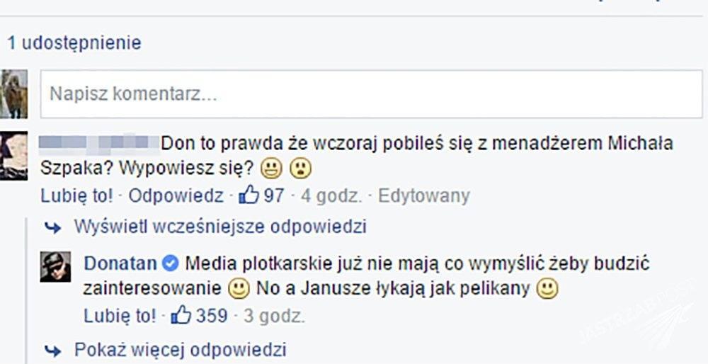 Donatan o bójce z menadżerem Szpaka, fot. Facebook