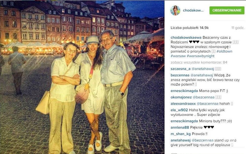 Ewa Chodakowska z rodzicami, fot. Instagram