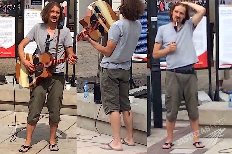 Gienek Loska gra i śpiewa na ulicy w Warszawie ns Starym Mieście YouTube