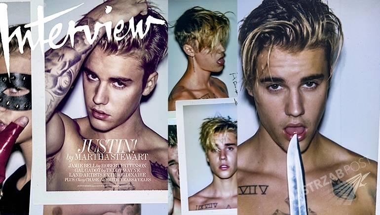 Justin Bieber w Interview sierpień 2015 - cała sesja, siniaki na plecach, wywiad