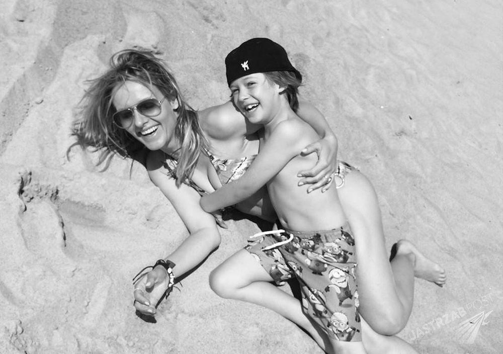 Patrycja Markowska z synem na wakacjach, fot. Facebook