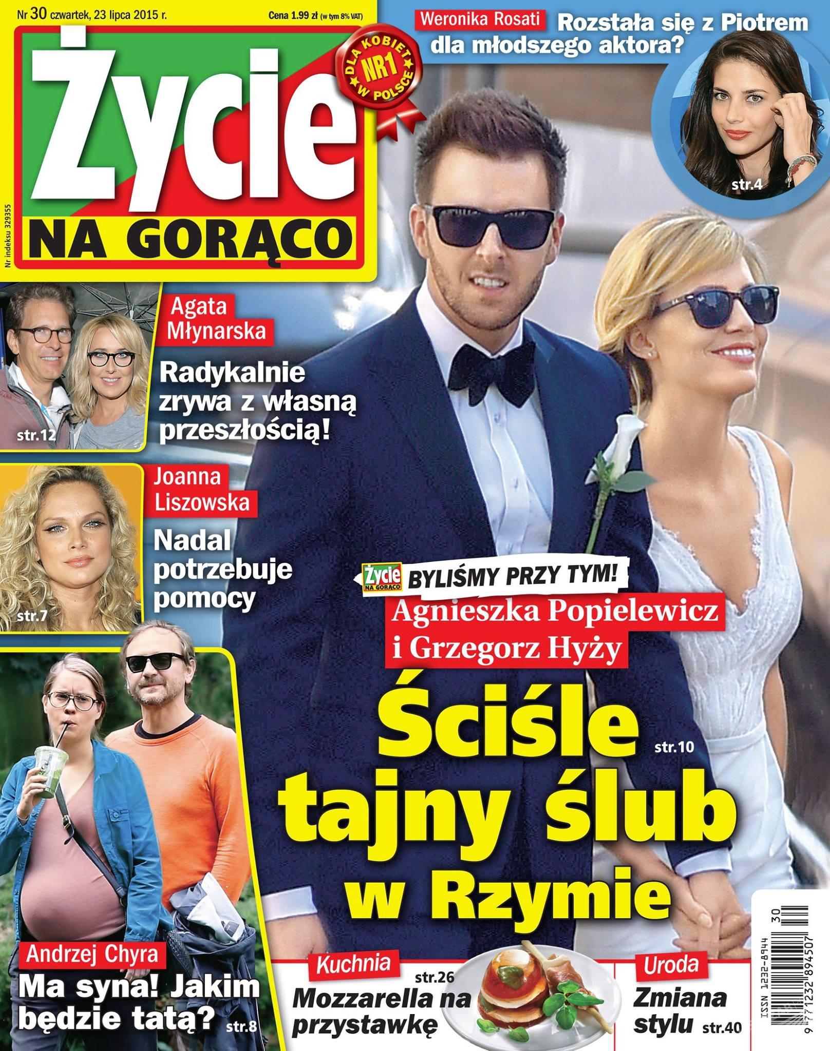 Ślubne zdjęcie Agnieszki Popielewicz i Grzegorza Hyżego na okładce Życia na gorąco