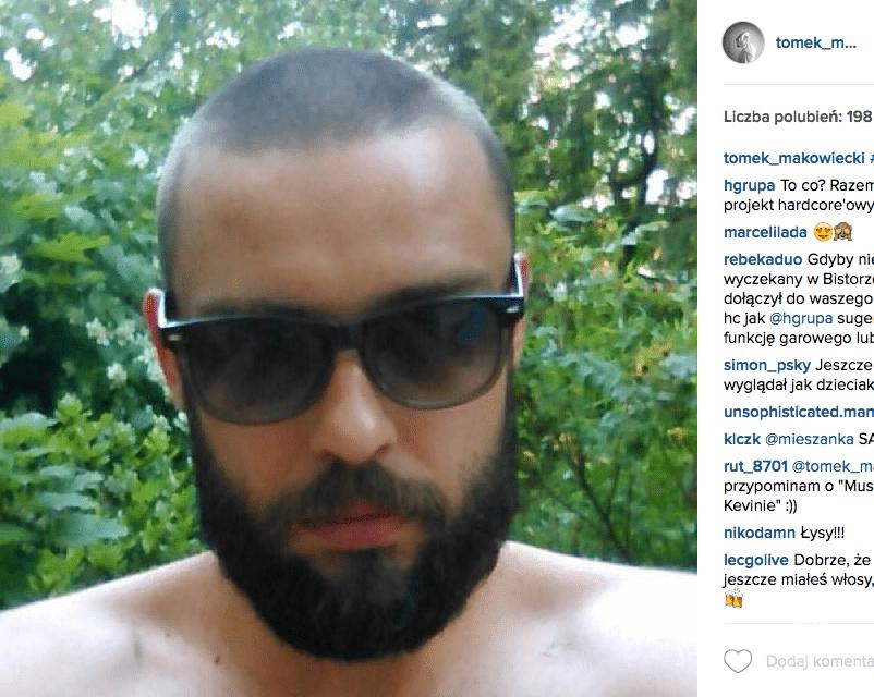 Tomek Makowiecki ogolił się na zero