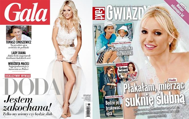 Doda w sukni ślubnej na okłdace Gali i Fakt Gwiazdy - sierpień 2015