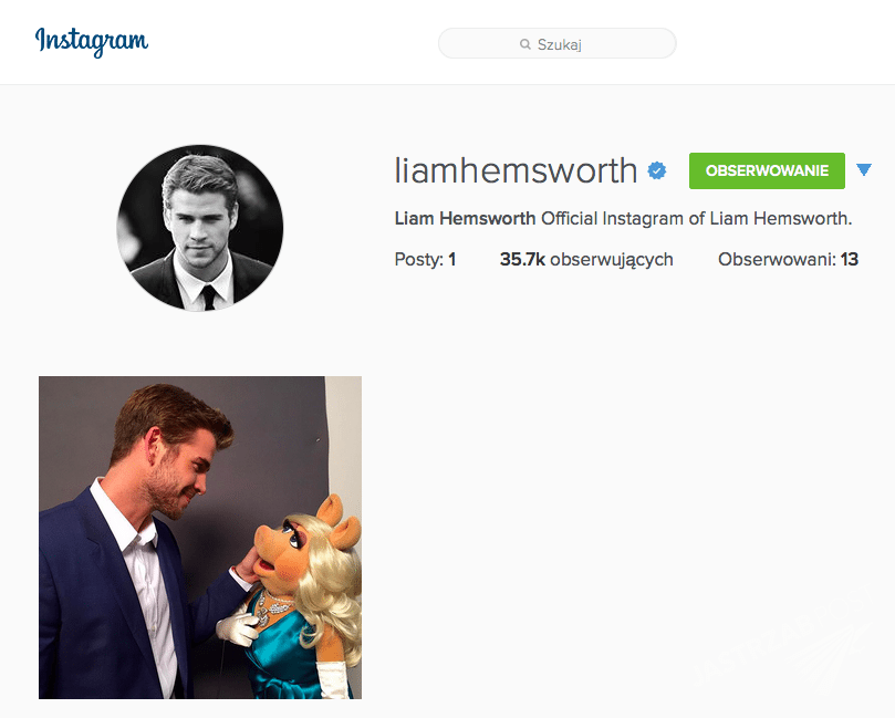 Liam Hemsworth na Instagramie