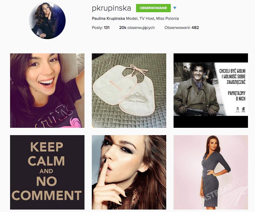 Profil Pauliny Krupińskiej na Instagramie polubiło 20 tysięcy osób