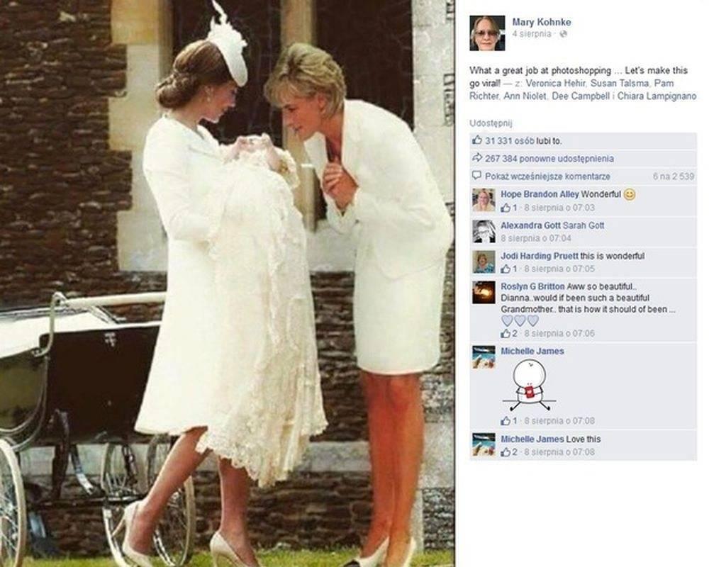 Księżna Diana na chrzcie księżniczki Charlotte