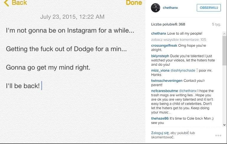 Chet Hanks na Instagramie