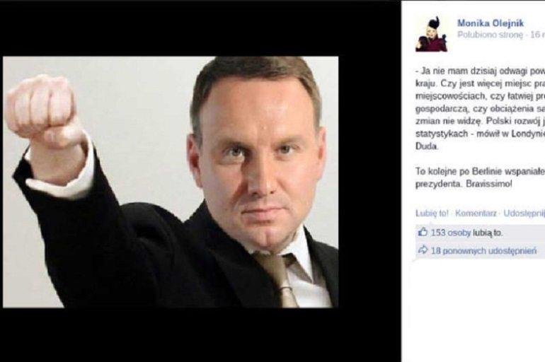 Monika Olejnik pokazała fotomontaż Dudy i Breivika