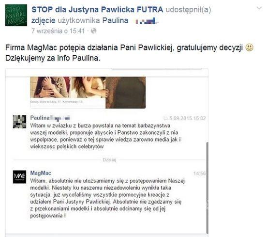 MagMac zakończyło współpracę z Justyną Pawlicką