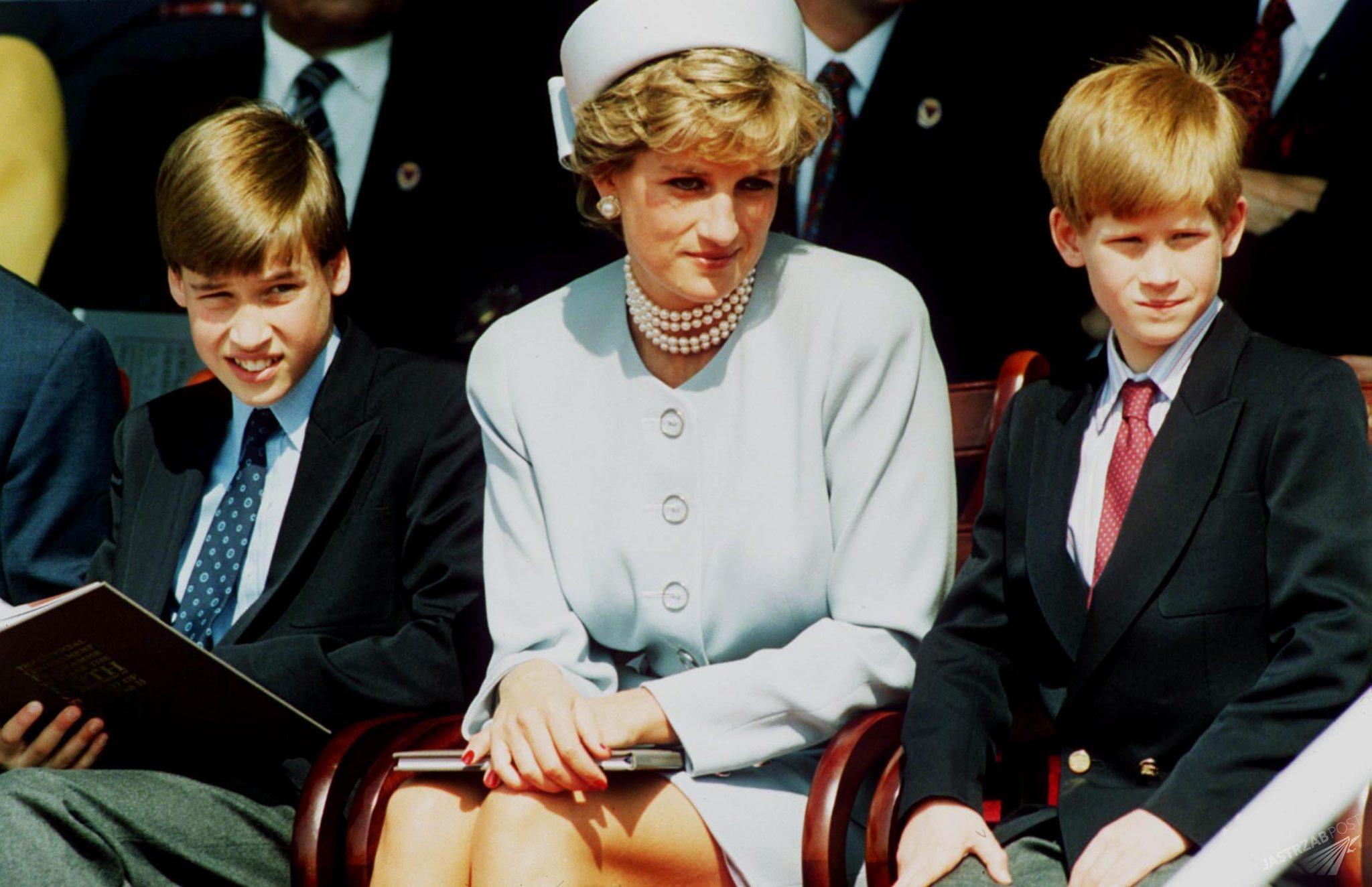 Księżna Diana z synami - Williamem i Harrym