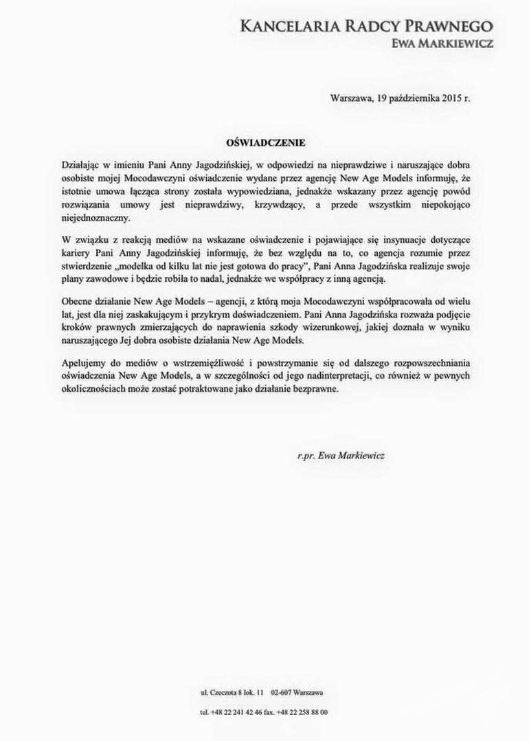 Oswiadczenie Anny Jagodzińskiej