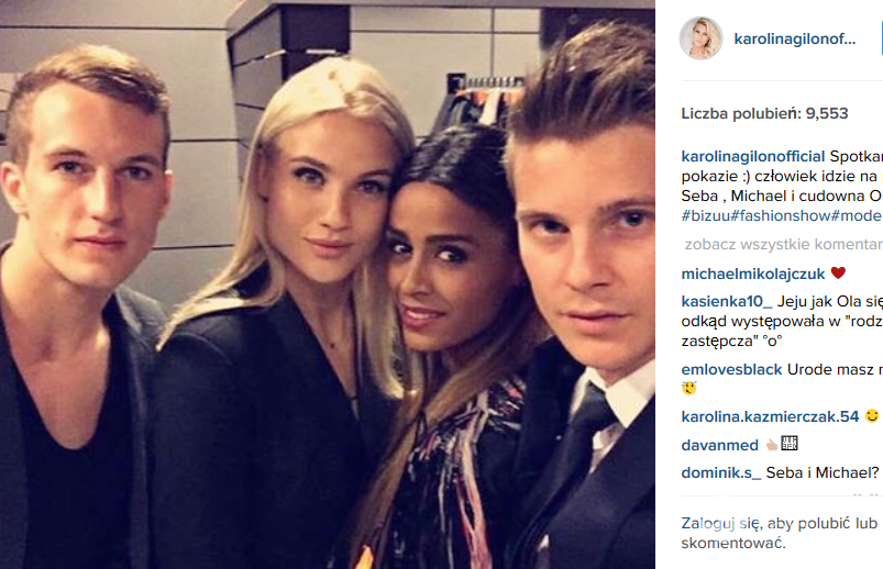Karolina Gilon z Olą Szwed i kolegami z programu: Sebastianem i Michaelem (fot. Instagram)