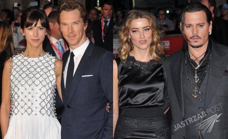 Amber Heard (w sukience Dolce&Gabbana) i Johnny Depp oraz Sophie Hunter i Benedict Cumberbatch na pokazie filmu