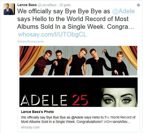 Członkowie NSync skomentowali rekord Adele