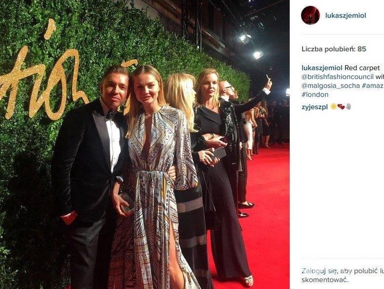 Małgorzata Socha i Łukasz Jemioł na British Fashion Awards 2015 (fot. Instagram)