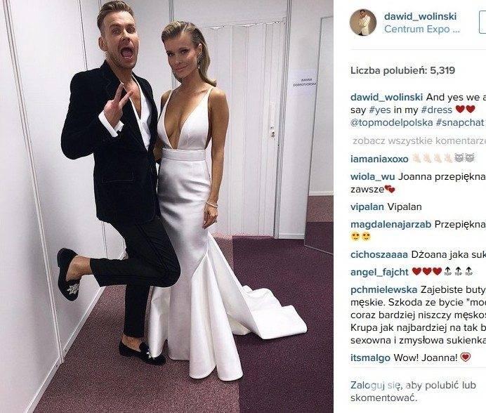 Dawid Woliński i Joanna Krupa w finale Top Model 5 (fot. Instagram)