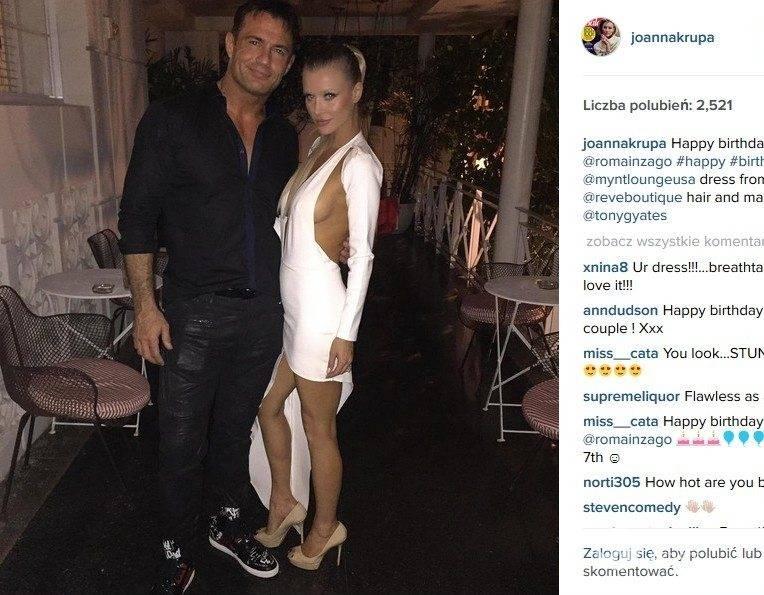 Joanna Krupa w sukience ReveBoutique na urodzinach męża Romaina Zago (fot. Instagram)