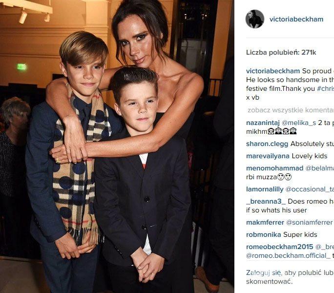 Victoria Beckham z synami Romeo i Cruzem na imprezie Burberry w Londynie (fot. Instagram)