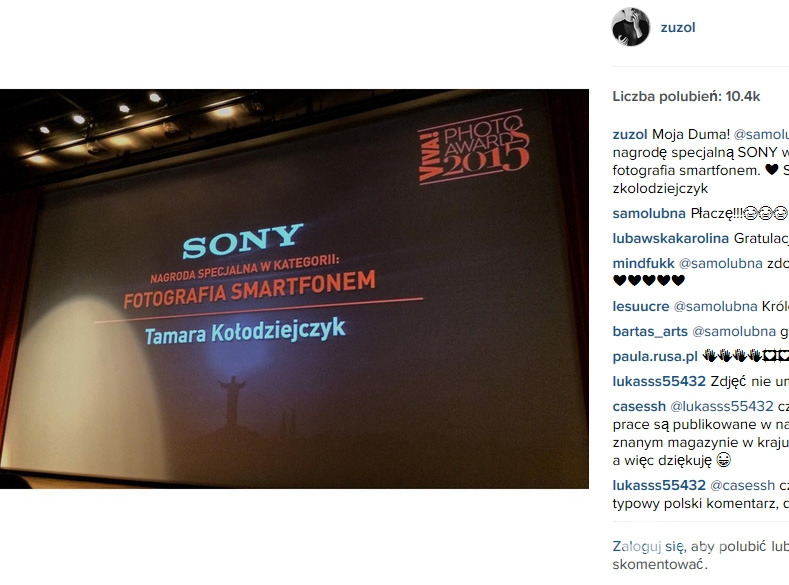 Zuza Kołodziejczyk na Viva Photo Awards (fot. Instagram)