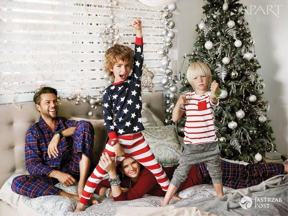 Karolina Malinowska i Olivier Janiak z dziećmi - świąteczna sesja Apart- Boże Narodzenie 2015