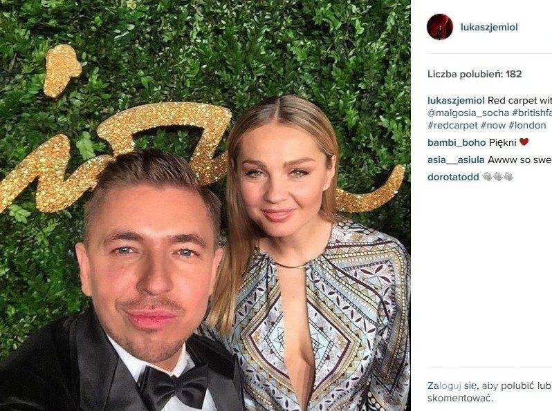 Małgorzata Socha i Łukasz Jemioł na British Fashion Awards (fot. Instagram)