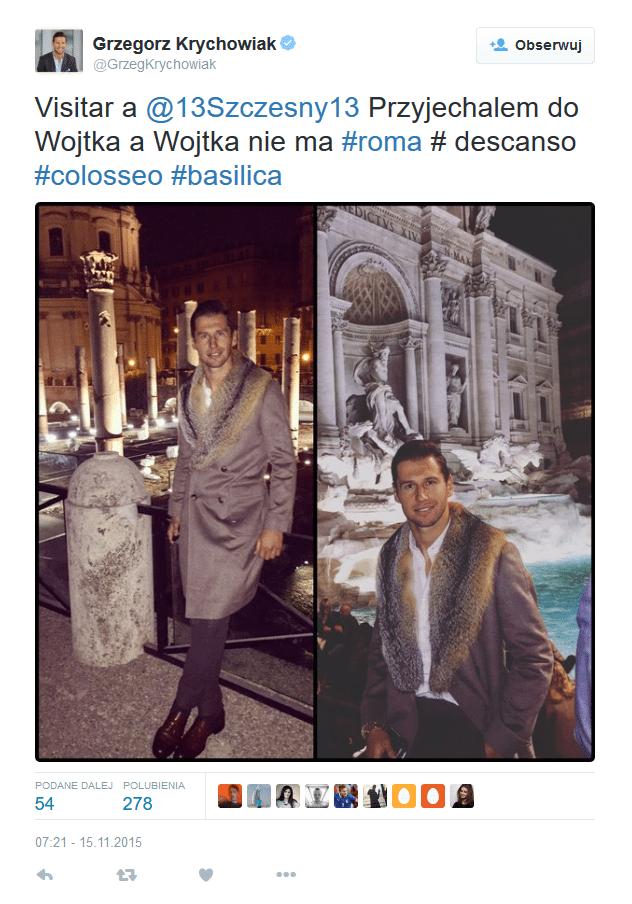 Grzegorz Krychowiak w płaszczu z futrzanym kołnierzem (fot. Twitter)
