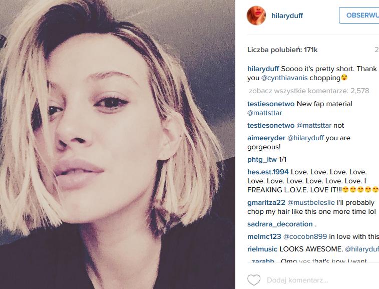 Hilary Duff ścięła włosy