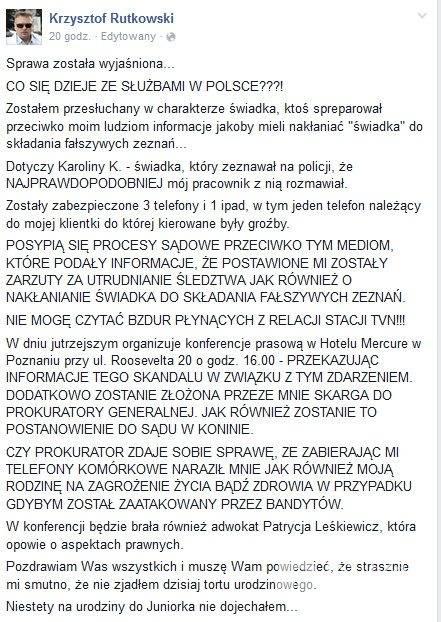 Facebook Krzysztofa Rutkowskiego
