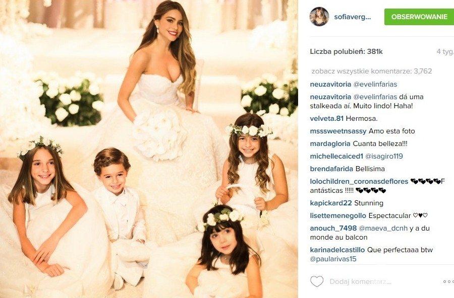 Suknia ślubna Sofii Vergary to dzieło Zuhaira Murada (fot. Instagram)