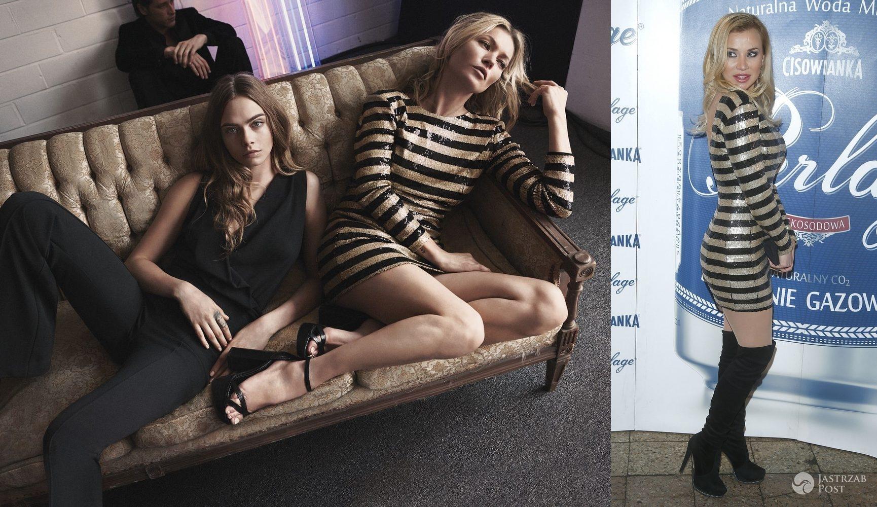 Kate Moss i Lidia Kopania w cekinowej sukience Mango (fot. mat. pras. Mango, AKPA)