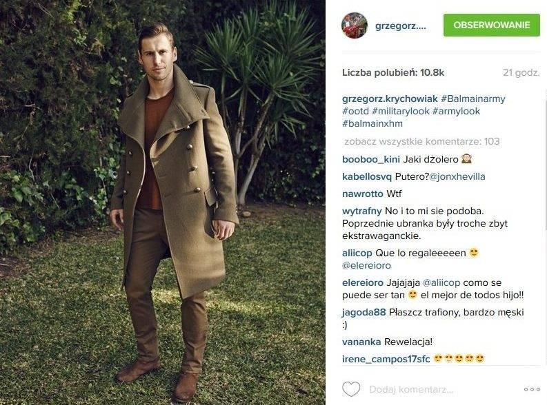 Grzegorz Krychowiak w płaszczu Balmain x H&M (fot. Instagram)
