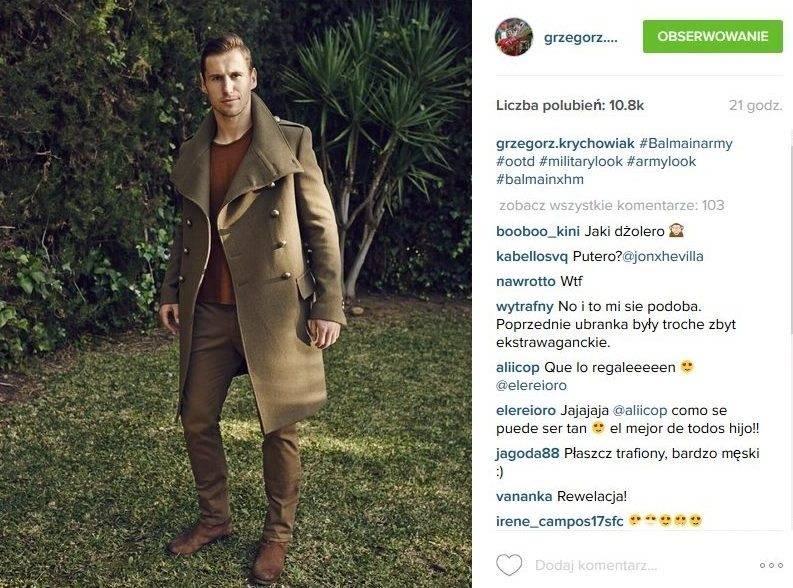 Najlepiej ubrani Polacy 2015: Grzegorz Krychowiak (fot. Instagram)