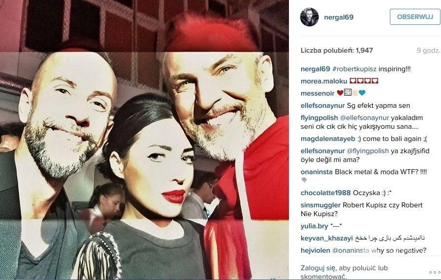 Nergal i trójmiejska artystka Alicja Domańska na pokazie Roberta Kupisza (fot. Instagram Nergal)