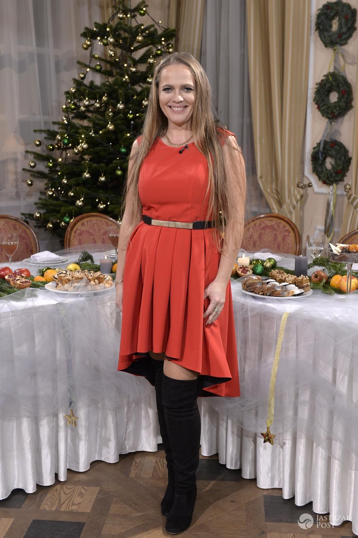 Anna Michalska na nagraniu świątecznego odcinka programu Rolnik szuka żony