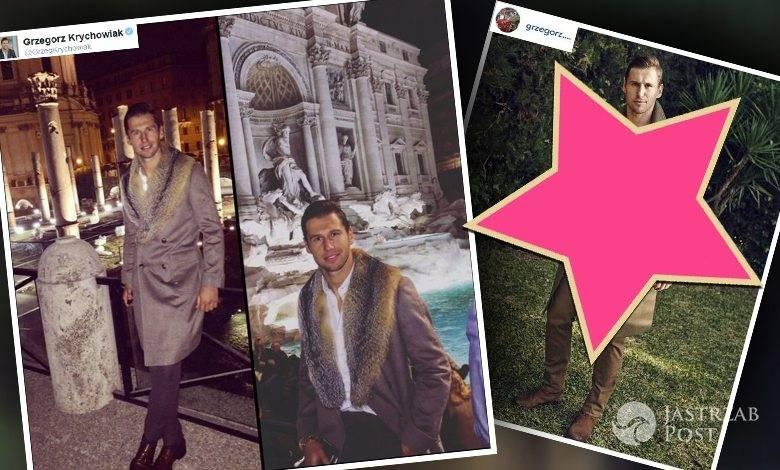 Grzegorz Krychowiak w płaszczu z kołnierzem z futra i w płaszczu Balmain (fot. Twitter, Instagram)