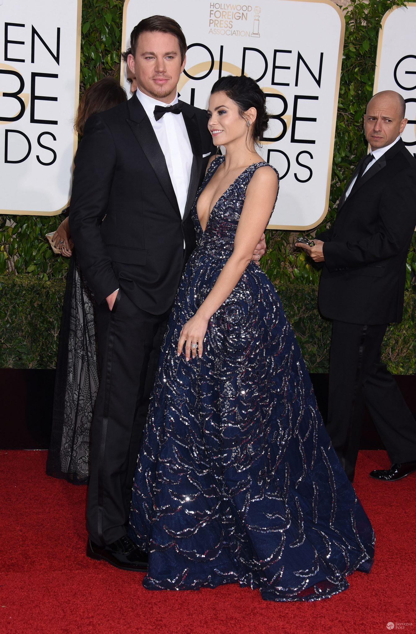Channing Tatum i jego żona Jenna Dewan-Tatum (w sukni Zuhair Murad), Złote Globy 2016 (fot. ONS)