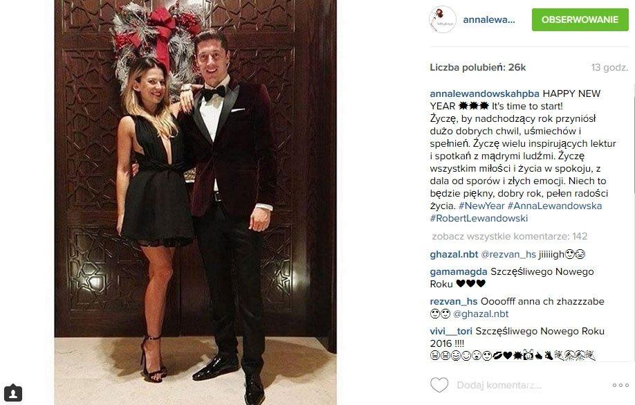 Anna i Robert Lewandowscy, sylwester 2015 (fot. Instagram)