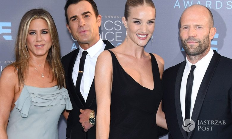Jennifer Aniston i Justin Theroux oraz Jason Statham, Rosie Huntington-Whiteley, Critics' Choice Awards 2016 (fot. ONS)